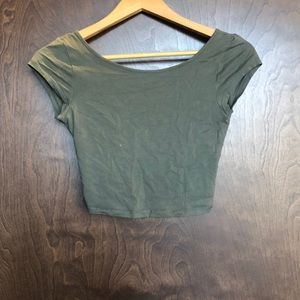 American Eagle Outfitters Tops - Hunter green, cross back crop top size XS